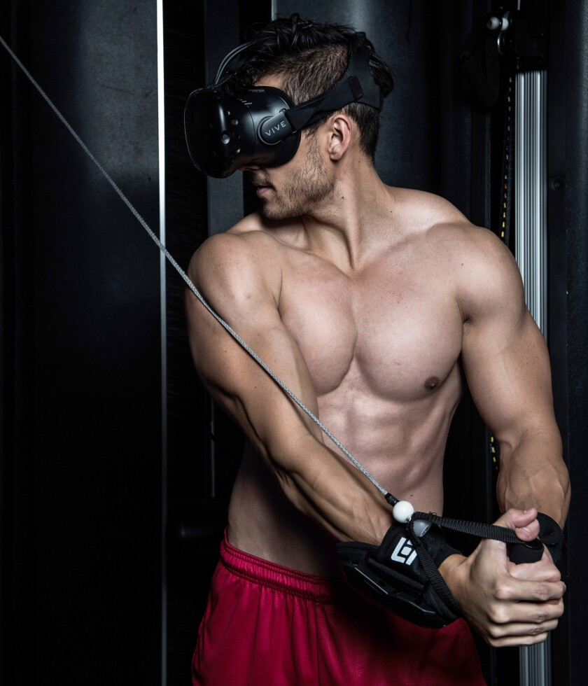 The Black Box outfits you with a virtual reality headset that turns weight lifting into a game via a