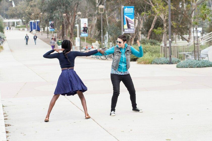 "Alexandra Slade (left) and Soroya Rowley in Circle Circle dot dot's ""San Diego, I Love You 3.0."""