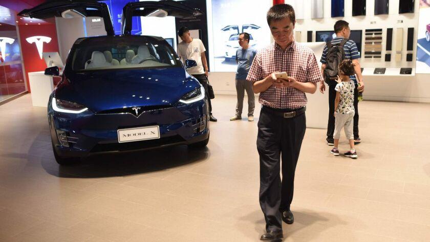 A Tesla showroom in Beijing.