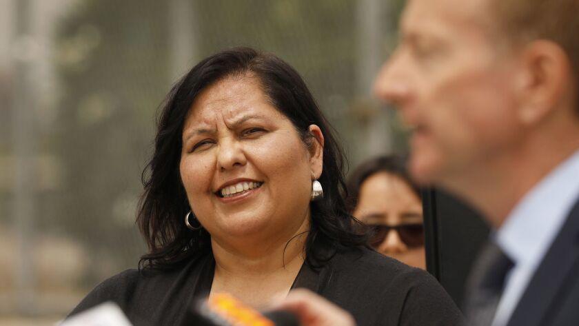 LOS ANGELES, CA – May 2, 2018: Mónica García LAUSD Board President, left, listens as New Los Angele