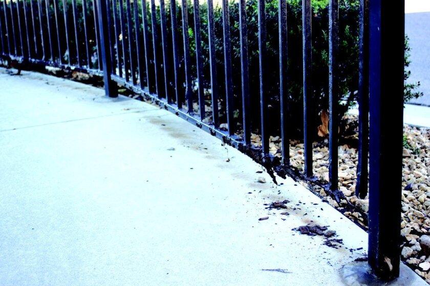 The guardrail at Bird Rock Avenue, pre-repair
