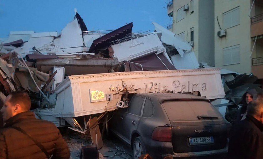 A powerful quake damaged buildings in Durres, western Albania, on Tuesday.