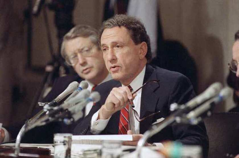 Senate Judiciary Committee member Arlen Specter questions witnesses defending Anita Hill, who accused Clarence Thomas of sexually harassing her in the 1980s.