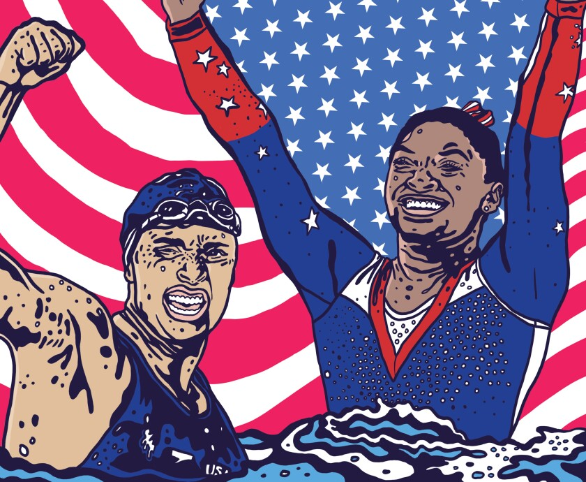 Illustration for the Tokyo Olympics section cover of Simone Biles and Katie Ledecky.