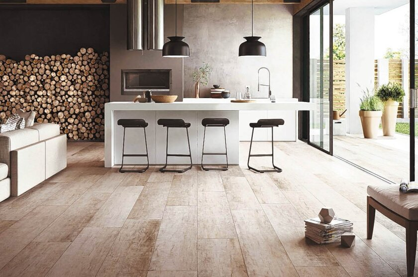 Wood-look tiles have become extremely popular and practical.