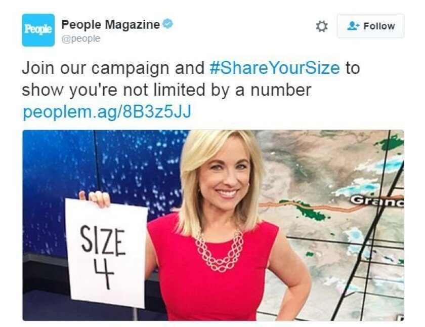 """People Magazine's #shareyoursize campaign was originally designed to inspire women to share their body size number as a way to say that """"size is just a number"""" and that """"it doesn't define your worth."""""""