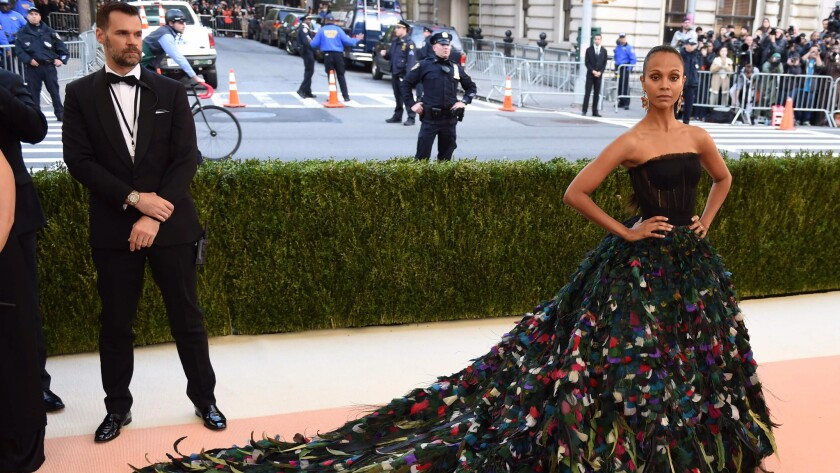 Zoe Saldana arrives at the 2016 Met Gala.