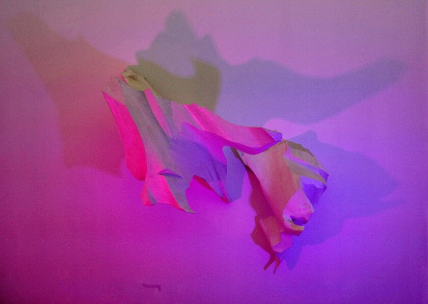 """This mixed-media installation """"Duet Series: White Lightness,"""" by Kristan Marvell, changes colors as the viewer watches."""