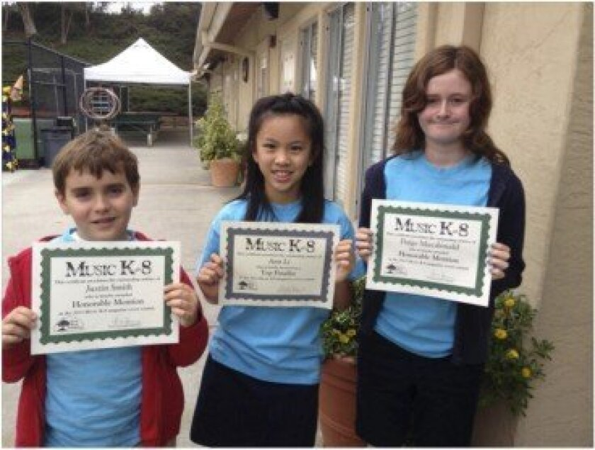 Del Mar Pines students with their recognition awards: (L-R) Justin Smith, Ann Li and Paige Macdonald.