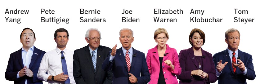 Seven candidates will appear on stage Friday for the Democratic presidential primary debate. They are: Andrew Yang, a businessman from New York; former South Bend, Ind., Mayor Pete Buttigieg; Vermont Sen. Bernie Sanders; former Vice President Joe Biden; Massachusetts Sen. Elizabeth Warren; Minnesota Sen. Amy Klobuchar; and former hedge fund manager Tom Steyer.