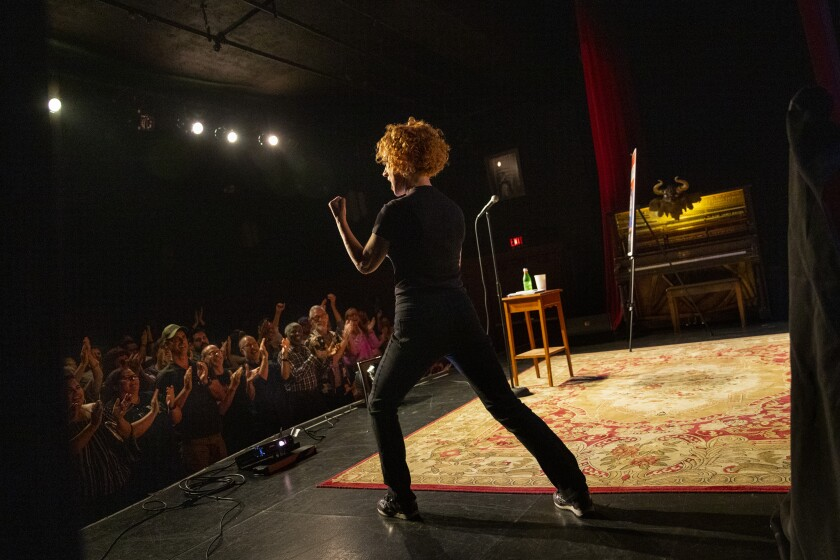"""Kathy Griffin riffing on President Trump, earthquakes, Les Moonves, Barbra Streisand and the movie """"Lost Boys"""" to a full house at Largo at the Coronet."""