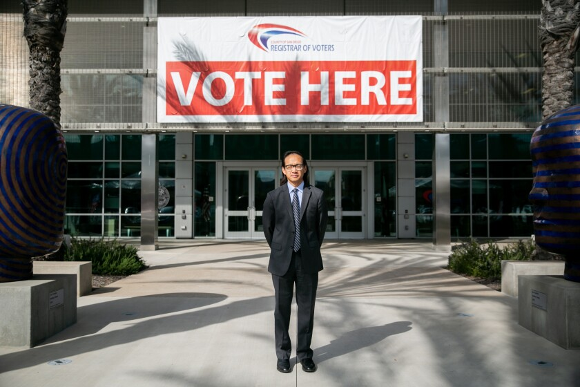 San Diego County Registrar of Voters Michael Vu outside the registrar's headquarters in San Diego.