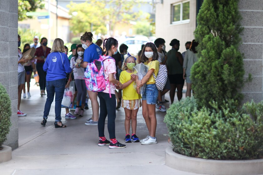 Middle school students at La Jolla Country Day School during their Aug. 16 orientation