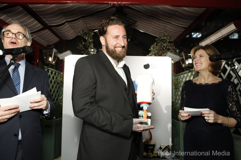 Chef Rob Ruiz holds his trophy at the Ocean Awards ceremony in London on Jan. 13.