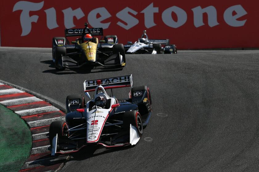 Josef Newgarden speeds through the corkscrew at Laguna Seca during the IndyCar Series finale on Sunday.