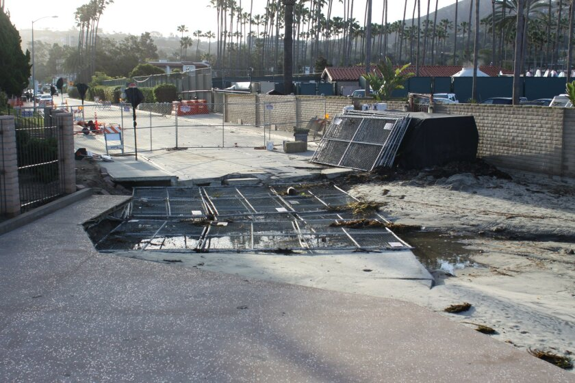 The end of Avenida de la Playa is closed off to keep people a safe distance from the unstable sinkhole that opened up in January.
