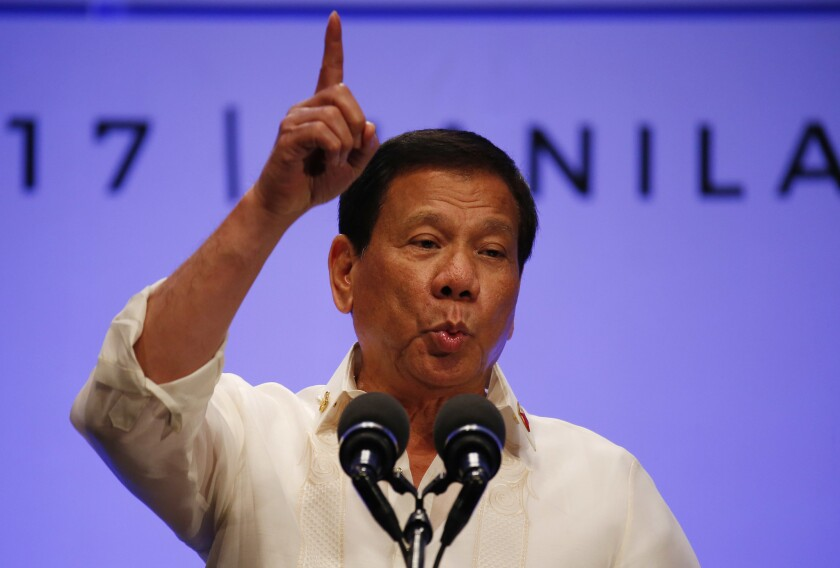 Philippines President Rodrigo Duterte gestures while addressing the media following the conclusion of the 30th ASEAN Leaders' Summit in Manila, Philippines, on April 29, 2017.
