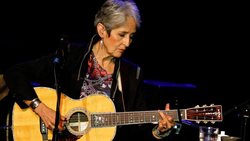 American folk singer Joan Baez performs at a concert in Burgos, northern Spain, on Wednesday, March
