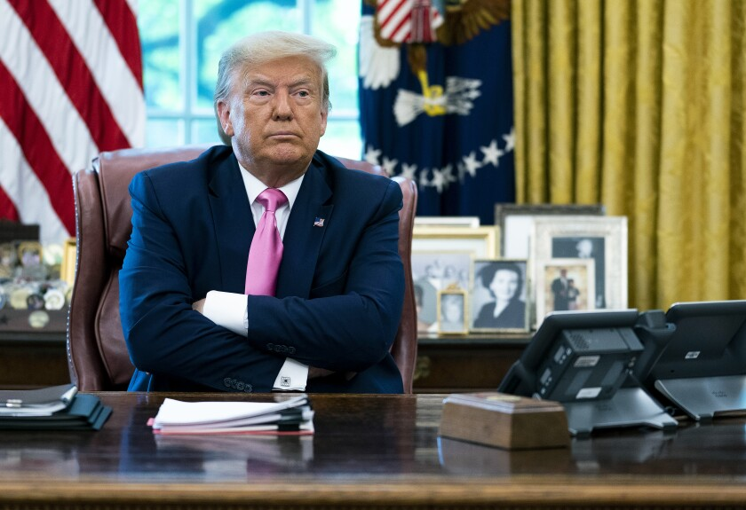 President Donald Trump in the Oval Office on Monday, July 20.