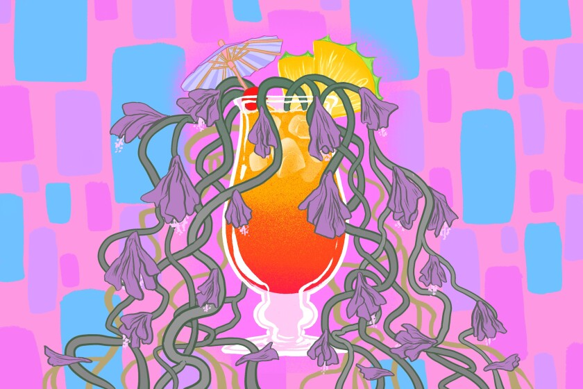 Tiki cocktail illustration