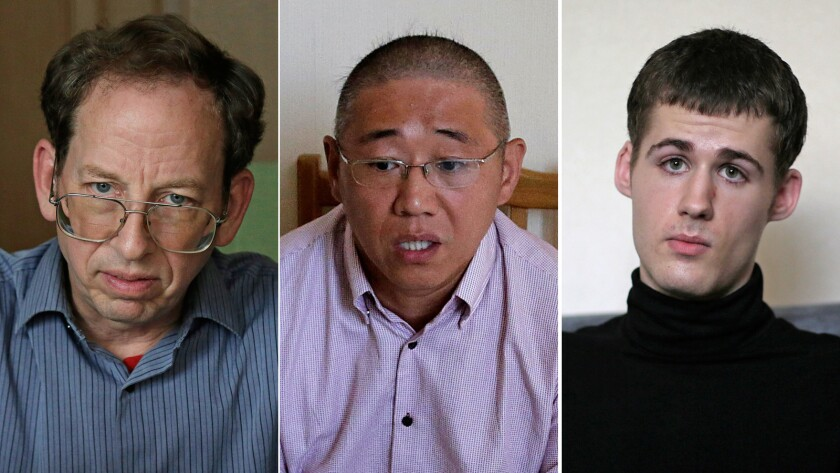 Jeffrey Fowle, from left, Kenneth Bae and Matthew Miller, detainees in North Korea, speak with foreign media Sept. 1.