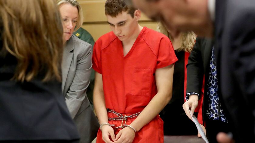 Nikolas Cruz appears in court for a hearing last month. On Wednesday, he was charged with 17 counts of first-degree murder.