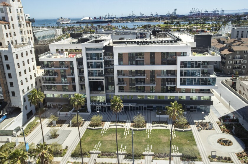A view of a luxury apartment complex in Long Beach