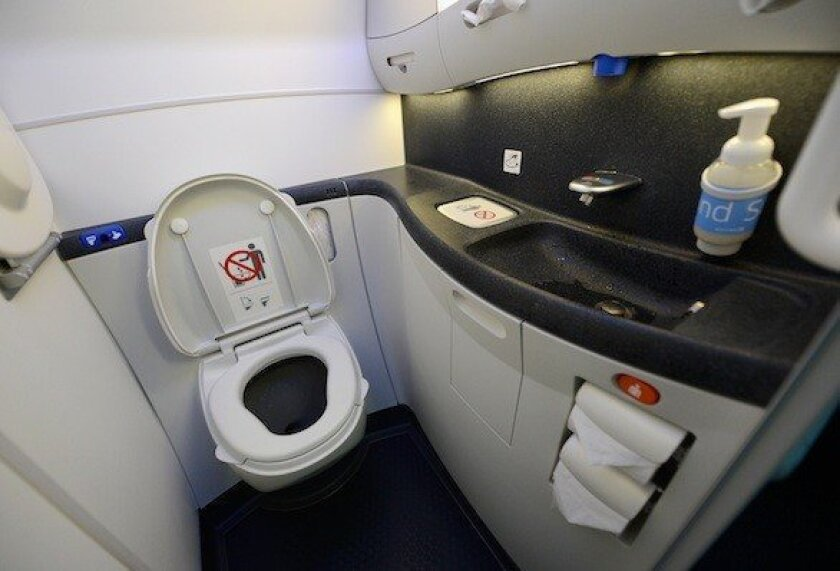 Airplane toilets really aren't going away any time soon. Here's an automated flush toilet on the new Boeing 787 Dreamliner.