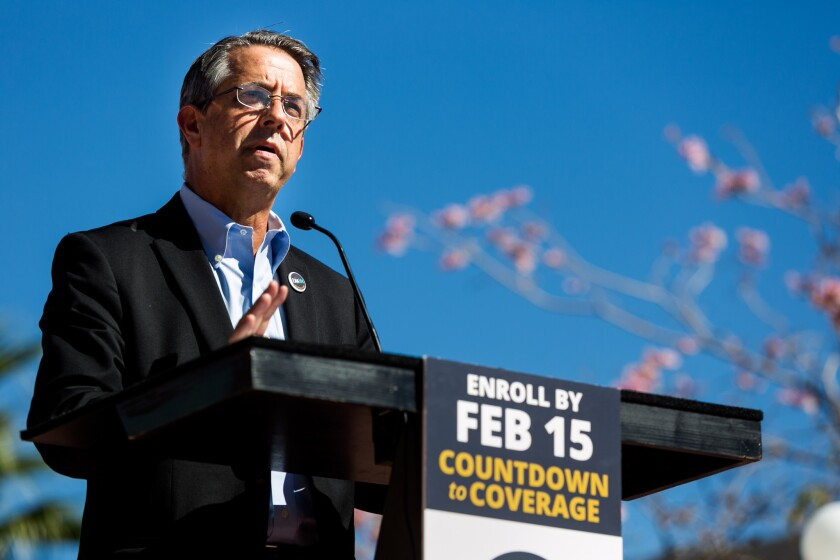 Covered California executive director Peter V. Lee speaks at an event for open enrollment for Covered California in Los Angeles on Feb. 12.