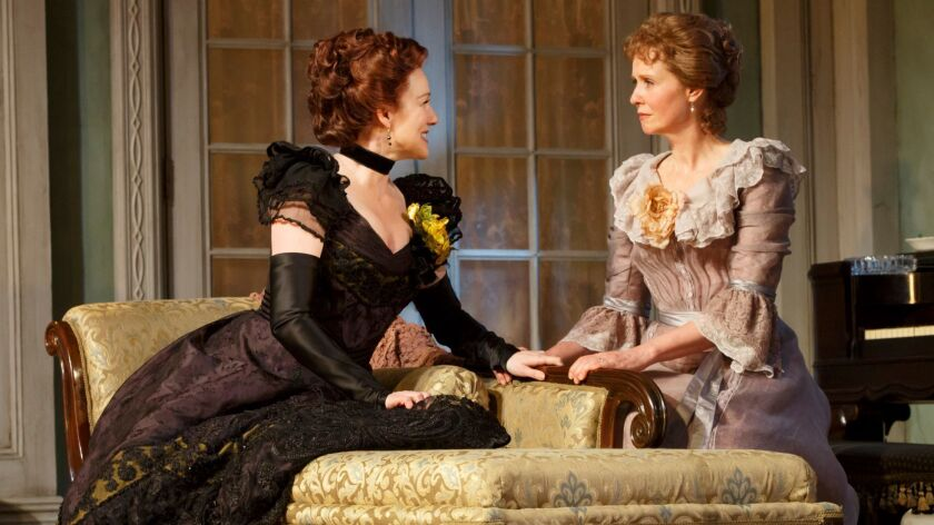 "Laura Linney as Regina, left, and Cynthia Nixon as Birdie in ""The Little Foxes."""