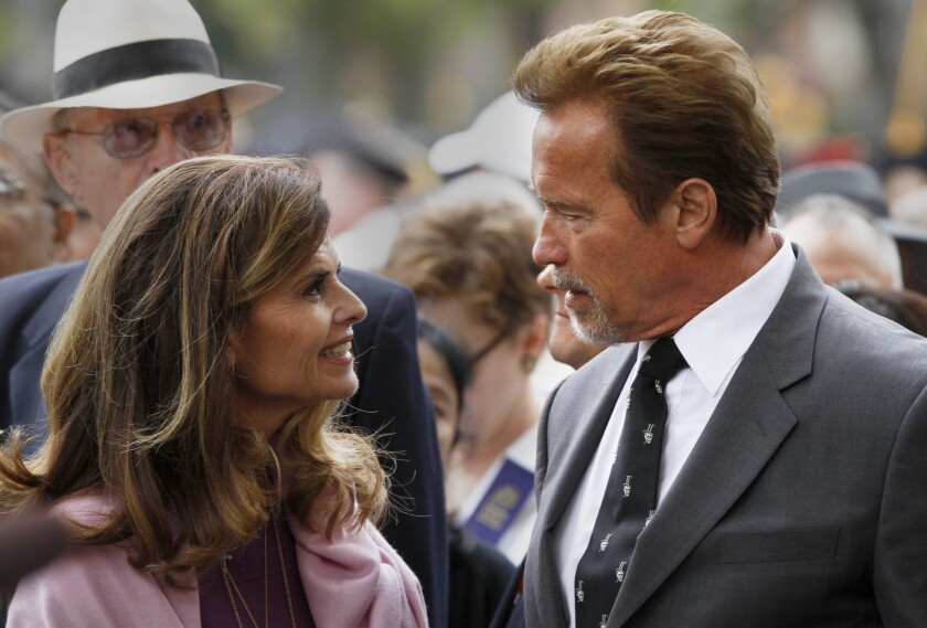 Maria Shriver and Arnold Schwarzenegger attend USC commencement in May 2012, where one of their children was believed to be graduating.