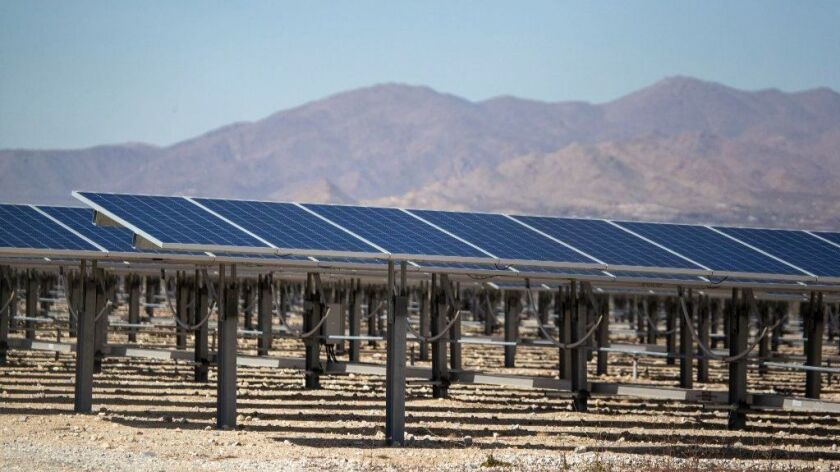 A view of a smaller-scale commercial solar project in Lucerne Valley, Calif., seen on Feb. 25, 2019.