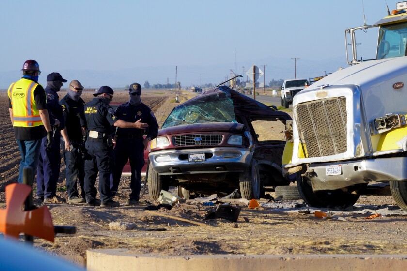 Scene of a deadly crash on State Highway115 near the U.S.-Mexico border