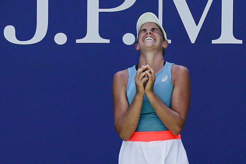 Jennifer Brady reacts after defeating Angelique Kerber during the fourth round of the U.S. Open on Sunday.