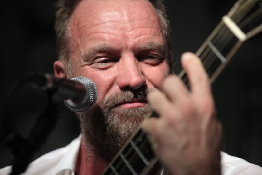 Sting, shown performing in London in 2009, is reportedly set to release in September an album of original material -- his first in a decade.