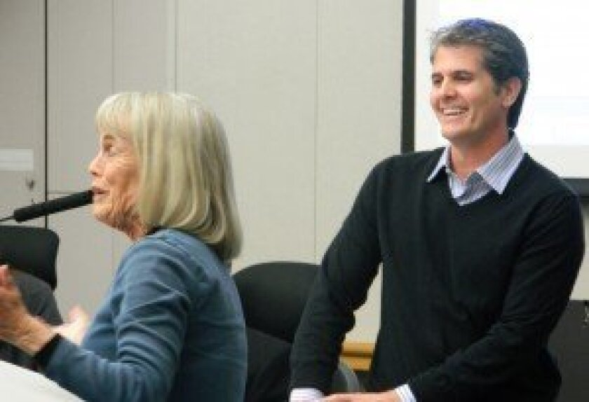 Community members thank Mike Nichols for his service as mayor of Solana Beach. Photo/Kristina Houck