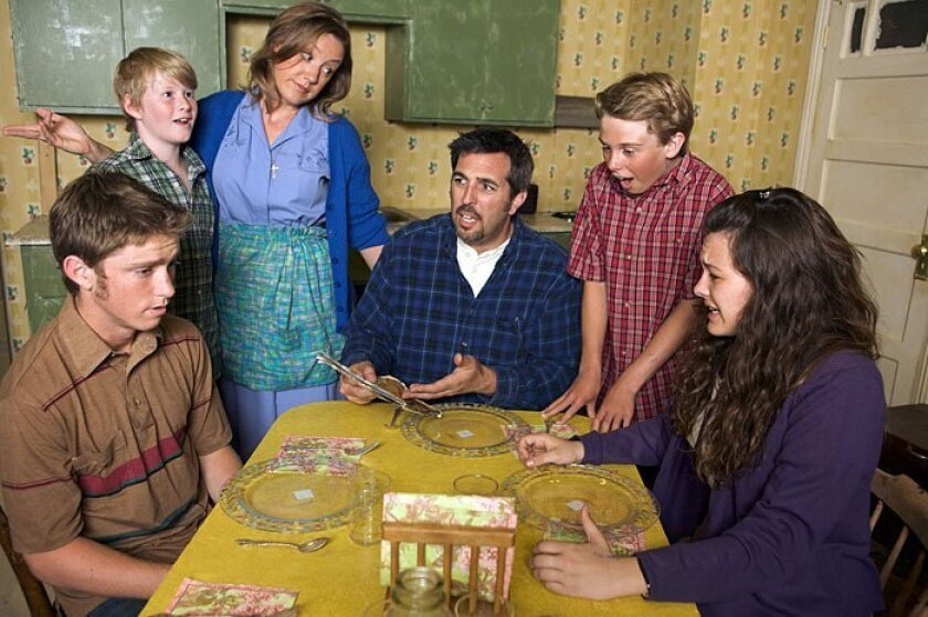 """From left, James Patterson, Thor Sigurdsson, Courtney Corey, Matt Thompson, Ian Brininstool and Abbey Howe in North Coast Repertory Theatre's """"Over the Tavern."""""""