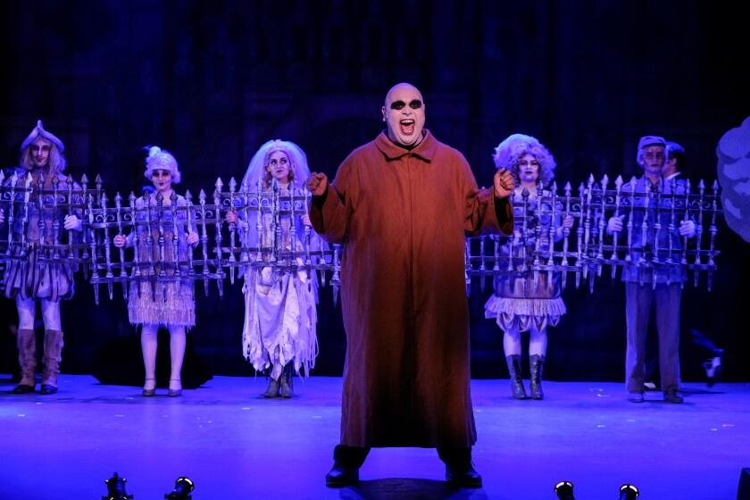 """Andrew Metzger as Uncle Fester in """"The Addams Family: A New Musicial Comedy"""" at Welk Resort Theatre."""
