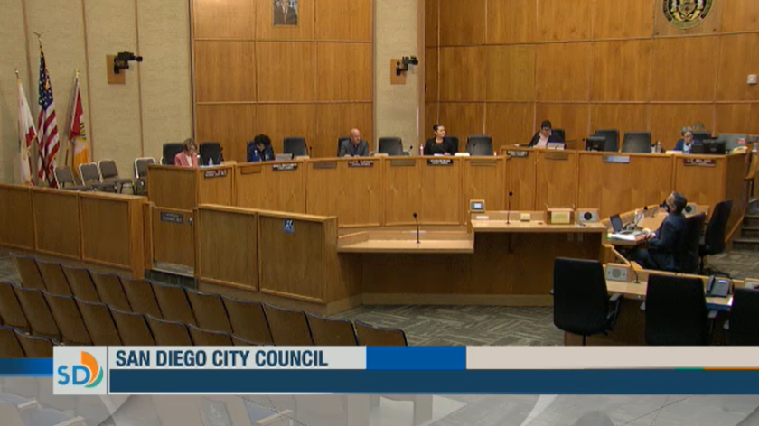 A screenshot of the San Diego City Council meeting.