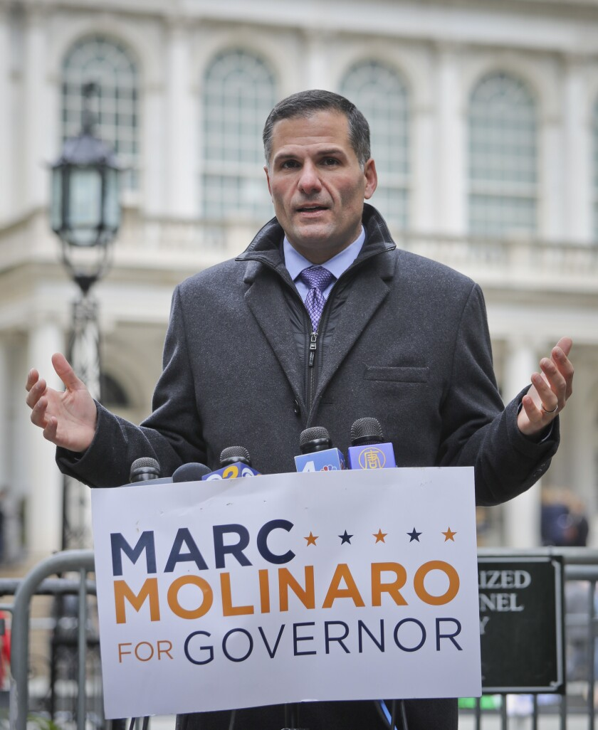 New York Republican gubernatorial candidate Marc Molinaro is pictured in City Hall Park last Monday in New York City.