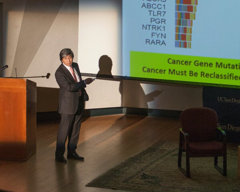 Patrick Soon-Shiong, biotech researcher who became a billionaire, discusses his strategy to beat cancer in La Jolla on Wednesday, Feb. 5, 2014.