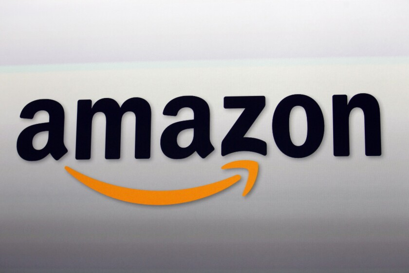 Shown is the logo for online merchant Amazon.