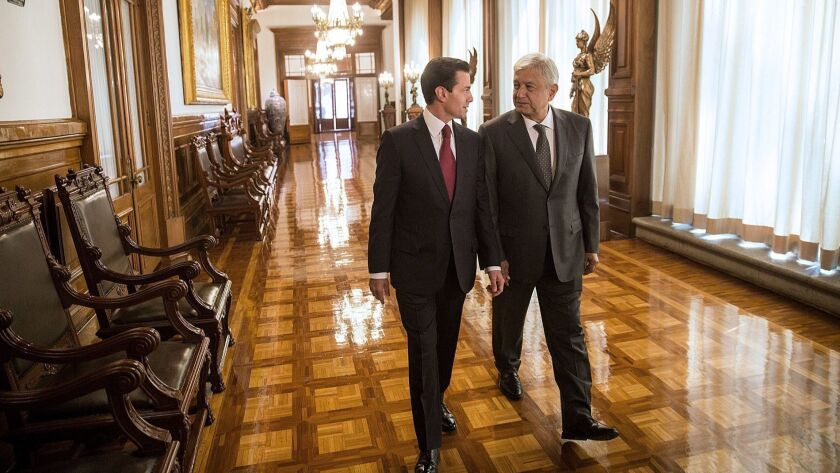 López Obrador assures 'orderly and peaceful' transition after meeting with President Pena, Mexico City - 03 Jul 2018