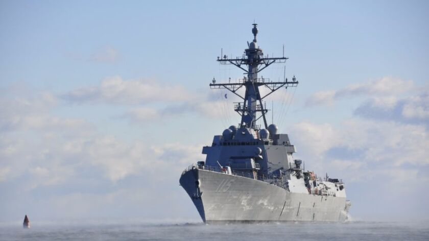 The destroyer Peralta successfully completed acceptance trials off the coast of Maine in December.