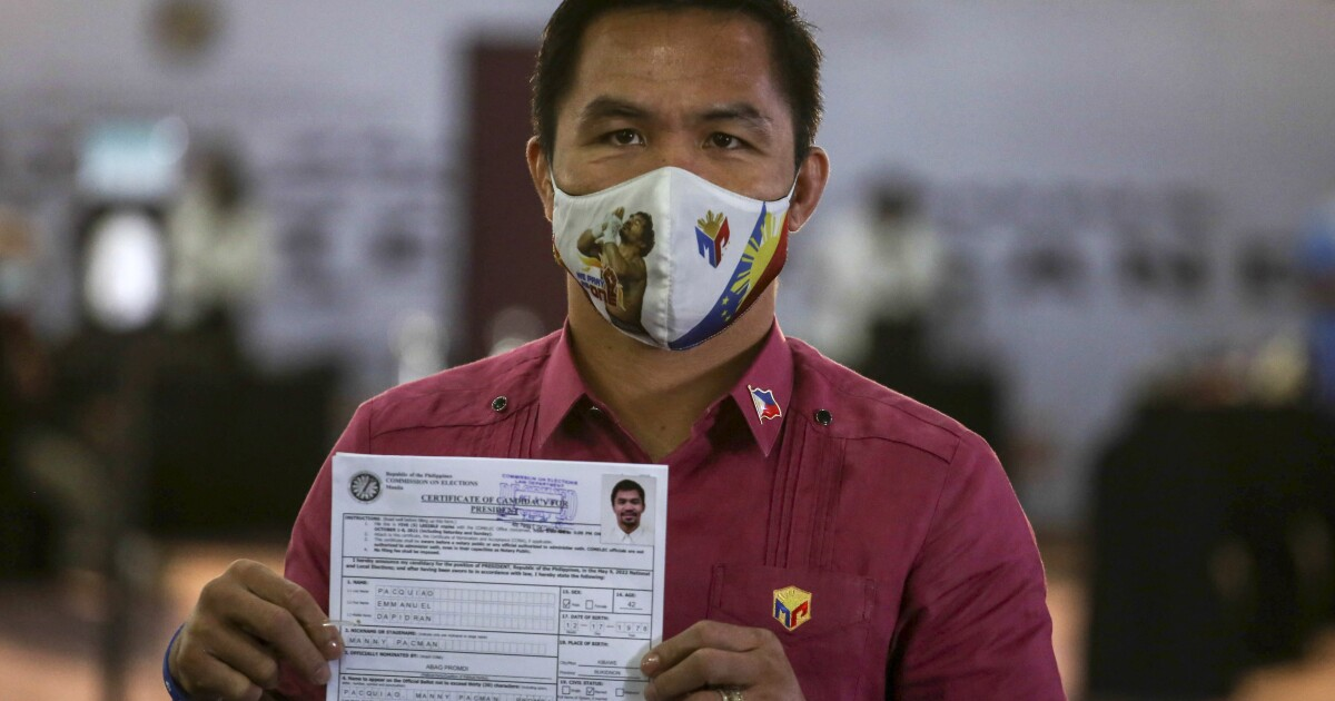 Former pugilist, future president? Pacquiao files candidacy in Philippine race
