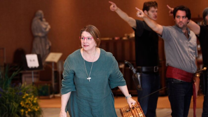 """Luretta Bybee plays the pirates' nurse Ruth shown during a rehearsal for San Diego Opera's """"The Pira"""