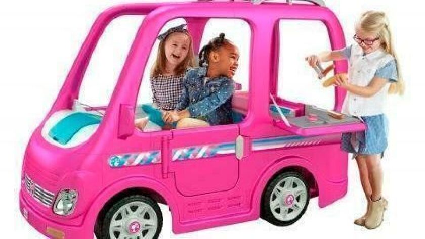 This image from the Consumer Product Safety Commission shows Power Wheels Barbie Dream Campers by Fisher-Price. The company is voluntarily recalling about 44,000 of the toys because they can keep running after the foot pedal is released.