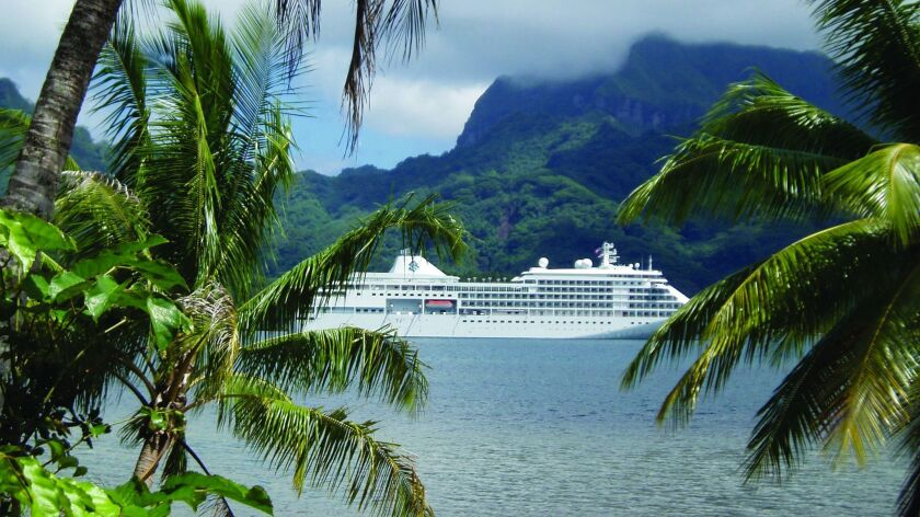 The Silver Whisper in Tahiti, one of the stops on the 2019 World Cruise itinerary.