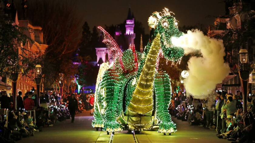 Disneyland's Main Street Electrical Parade comes out of