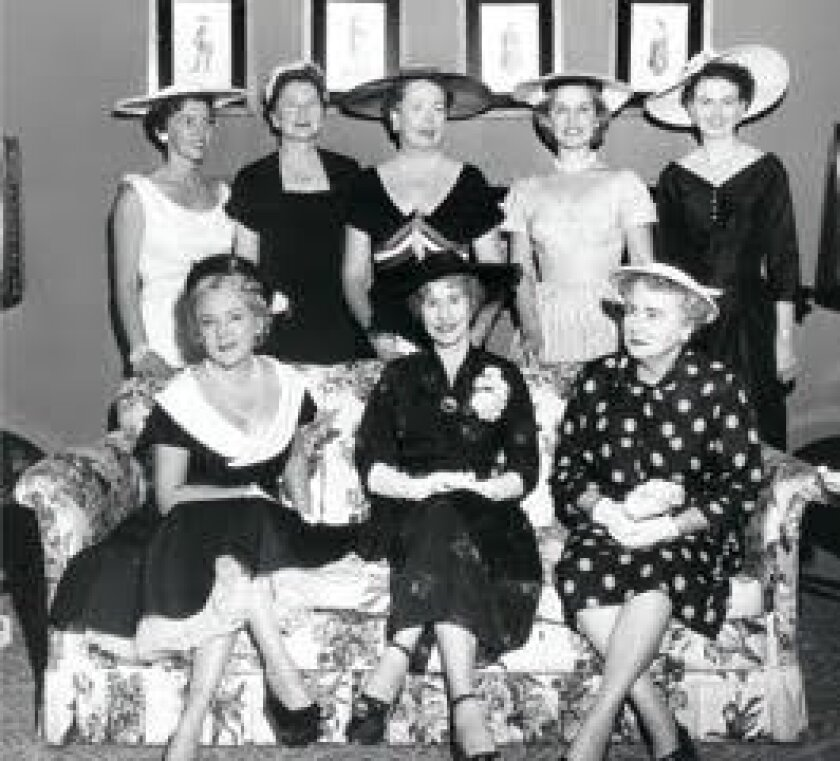 1955 (front row) Mary Pickford, Mabel Simmons Fouch, the national president, and other members